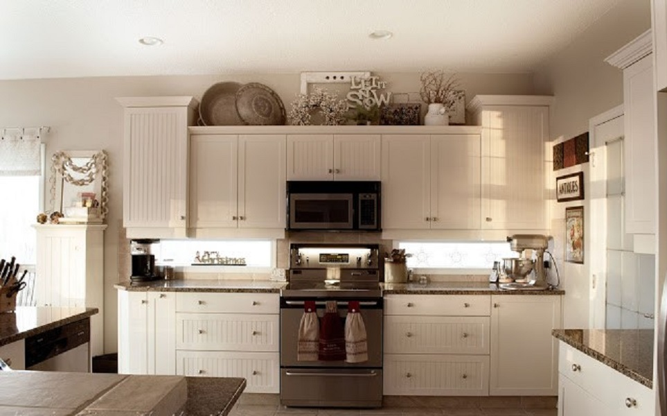 Pictures Of Kitchen ideas for decorating the top of kitchen cabinets.terrie