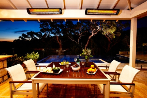 Infrared Heaters and Patio Furniture for a Formal Garden Design Picture