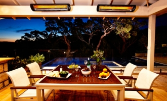 Infrared Heaters and Patio Furniture for a Formal Garden Design